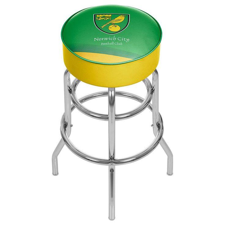 Norwich City FC Swiveling Chrome Bar Stool, Green
