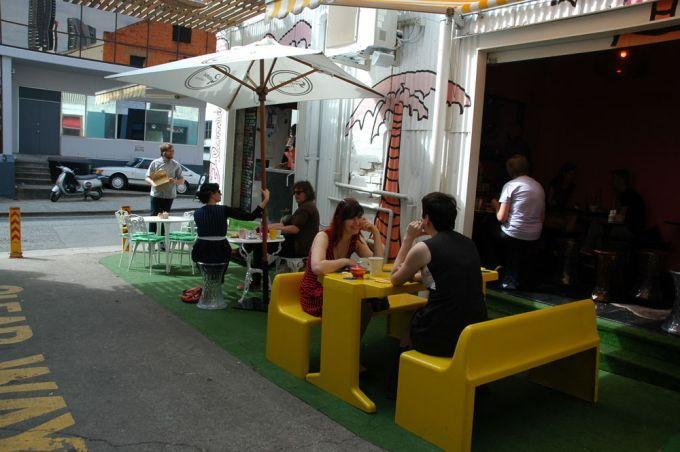 Café in a lane way Flamingo Cafe Fortitude Valley, Brisbane.