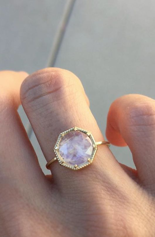 Spectacular Deals on 14K Moonstone Diamond Ring