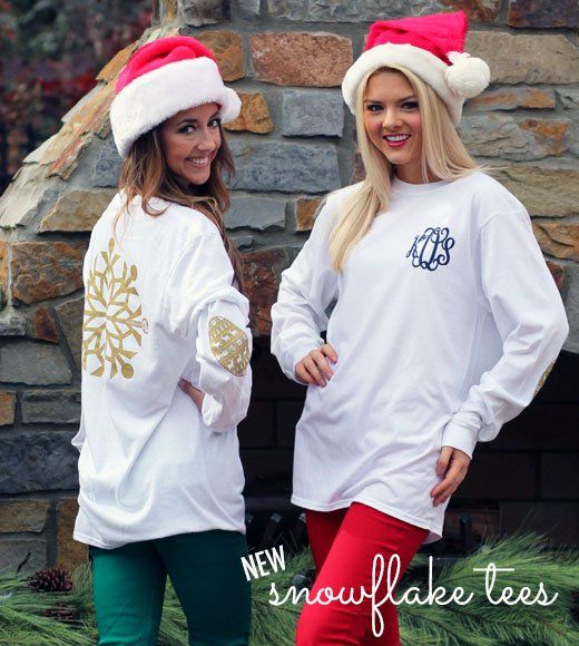 NEW Monogrammed Gold Metallic Snowflake Tees featuring holiday print elbow designs!