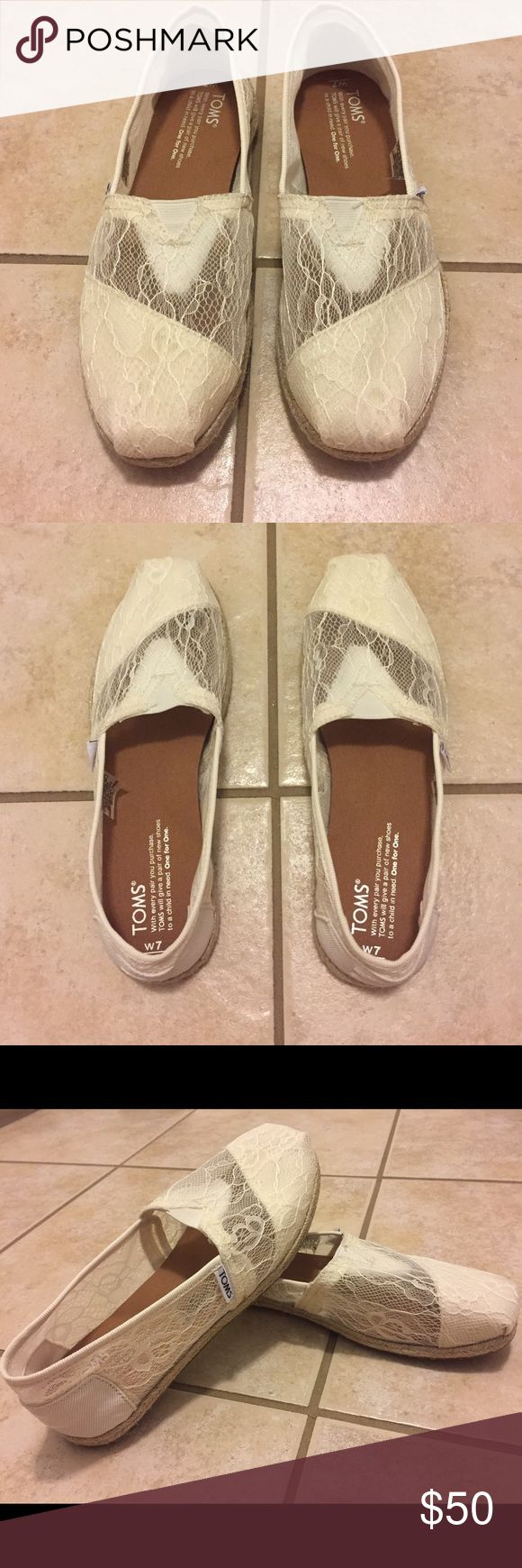 White Lace Toms NWOT White Lace Toms. Never worn except to try them on. TOMS Shoes Flats & Loafers