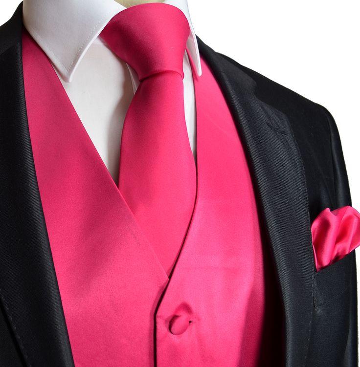 Solid Hot Pink Tuxedo Vest Set (Q10-C)