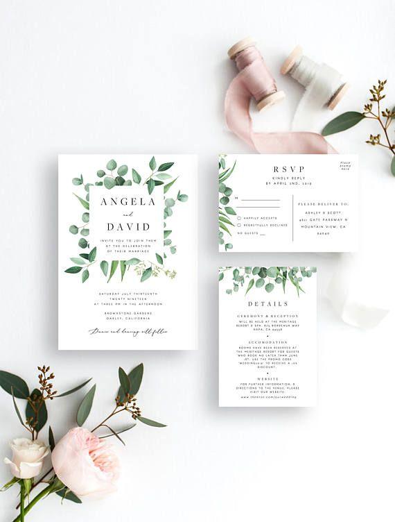 Greenery Wedding Invitation Set Template Eucalyptus Wreath