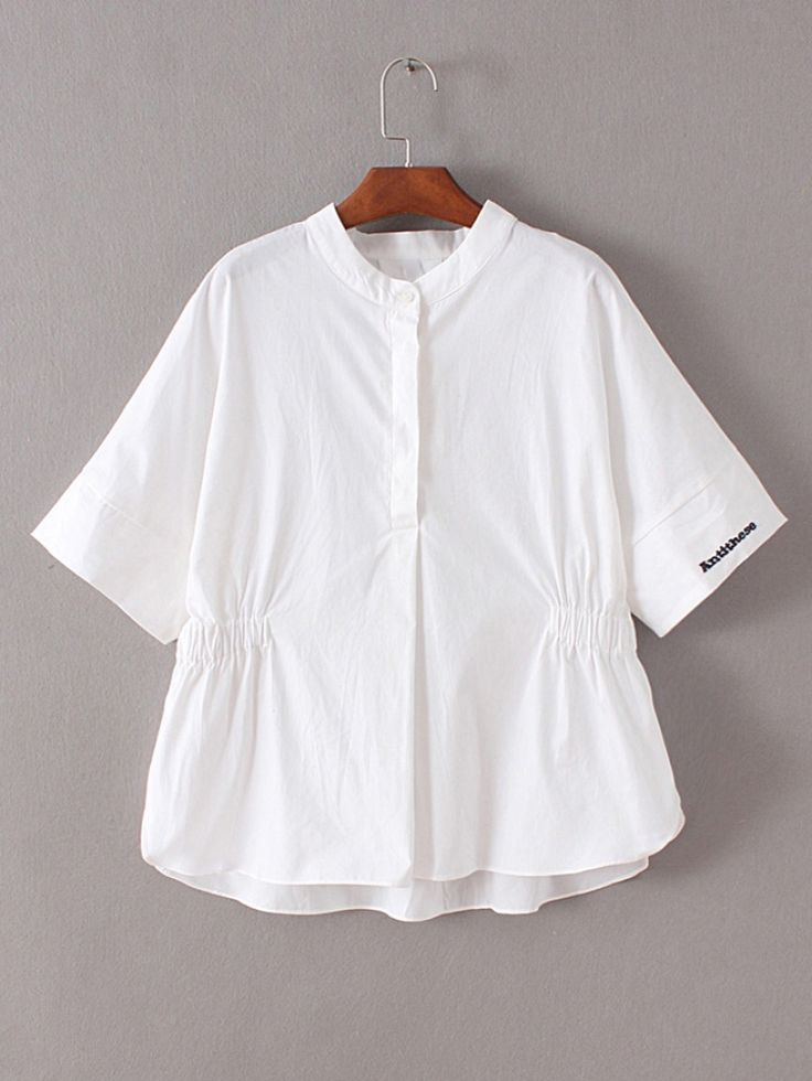 White Band Collar Embroidery High Low Blouse