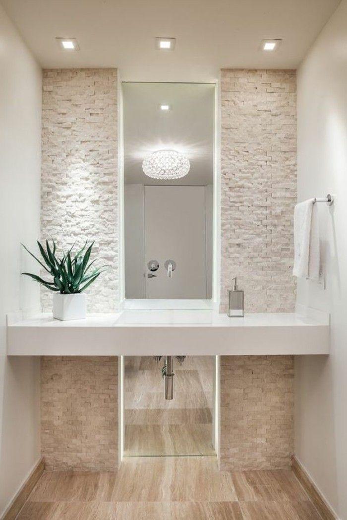 eclairage salle de bain led couleur taupe salle de bain beige avec plante verte - Salle De Bain Taupe