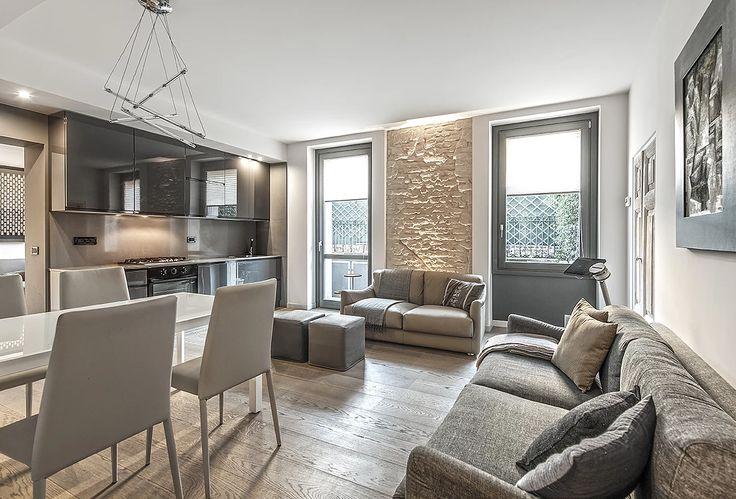 BRANDO concept  | solo 66 mq appartamento piccolo arredo salotto mattone a vista parquet rovere