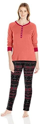 Bottoms Out Women's Printed Sweater Fleece Pajama Set, Coral/Charcoal, Large