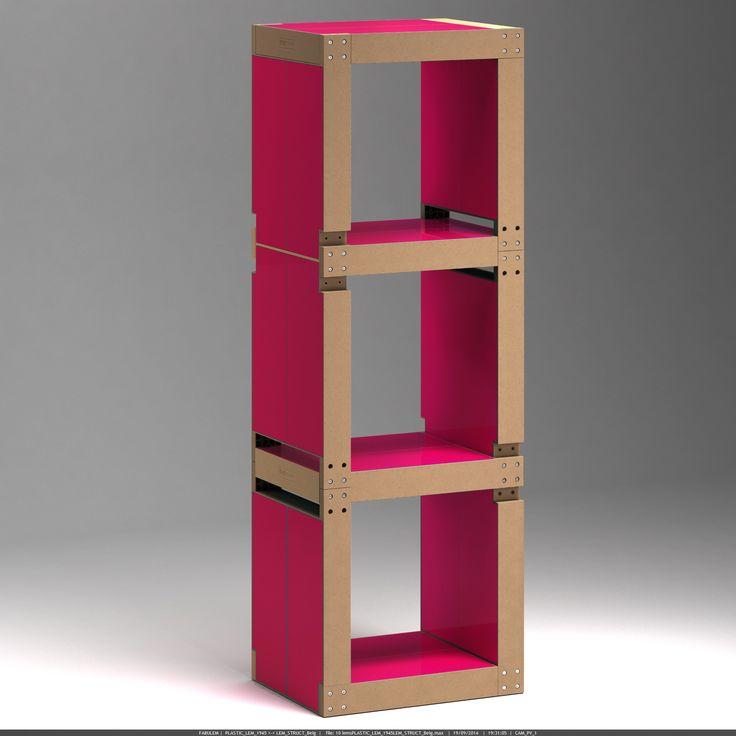 Bibliothèque 10 lems - Rouge framboise, structure naturelle - Fabulem, mobilier modulable