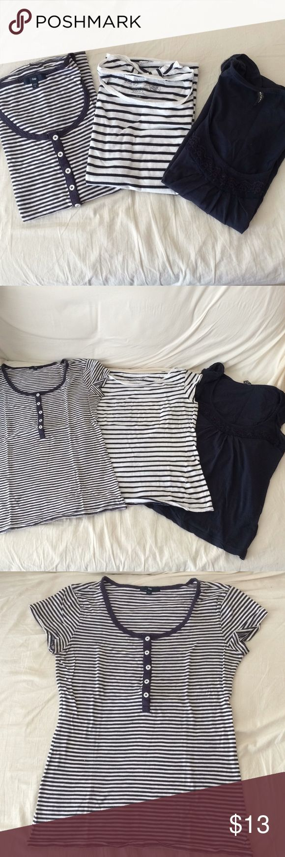 Bundle 3 T-shirt Bundle 3 T-Shirt Size: S In good condition Brands: (In order) Gap, H&M and Naf Naf  **Offers and Bundle are welcome!** Tops Tees - Short Sleeve