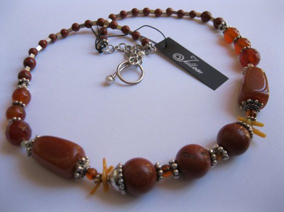 Chunky Rust Jasper Carnelian Agate Amber and Coral, Sterling Silver Necklace by Julleen Jewels