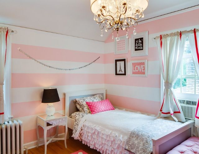 Girls Room: Pink White Striped Walls Girls Bedroom