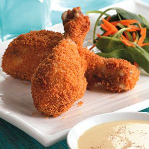 Crispy Baked Drumsticks with Honey-Mustard Sauce make thm style with lavish or homemade bread crumbs
