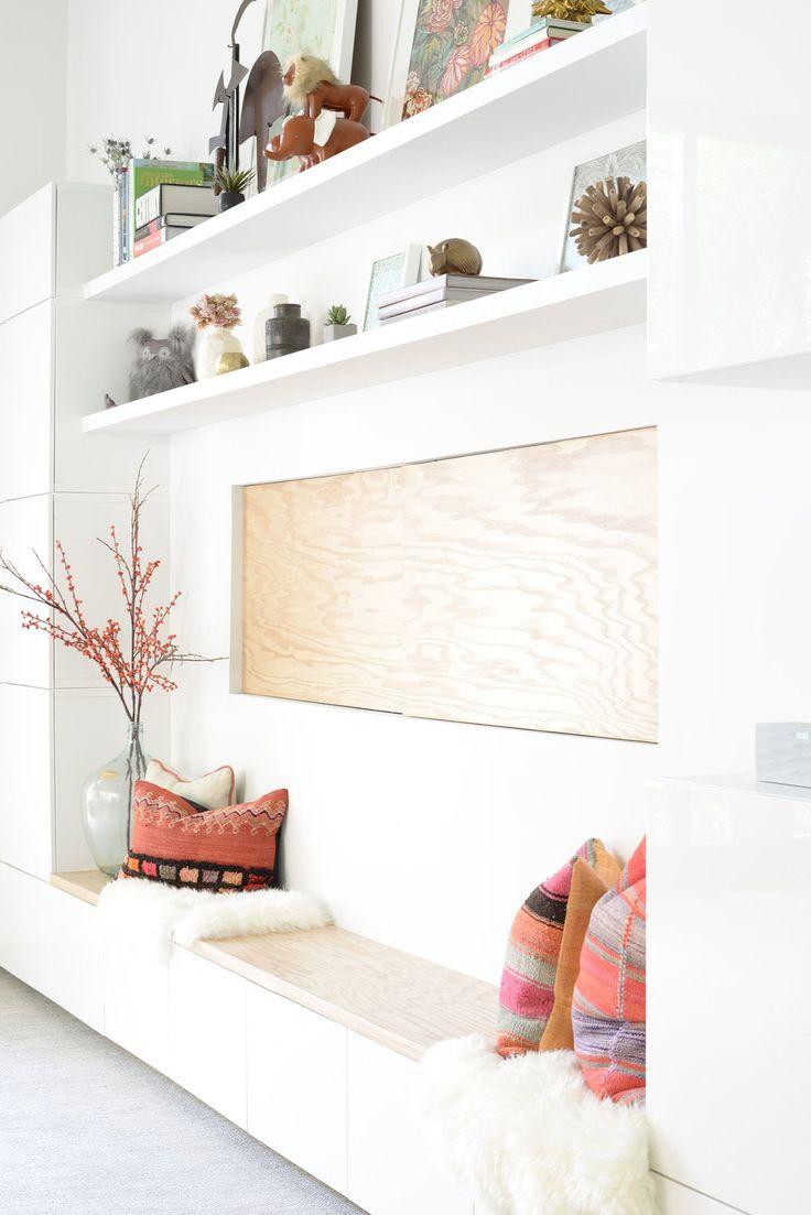 San Francisco Interior Design company Regan Baker Design - RBD Office, Ikea White Besta Cabinets Storage, Interior Styling, Midcentury Modern, Pop of Color, Floating Shelves