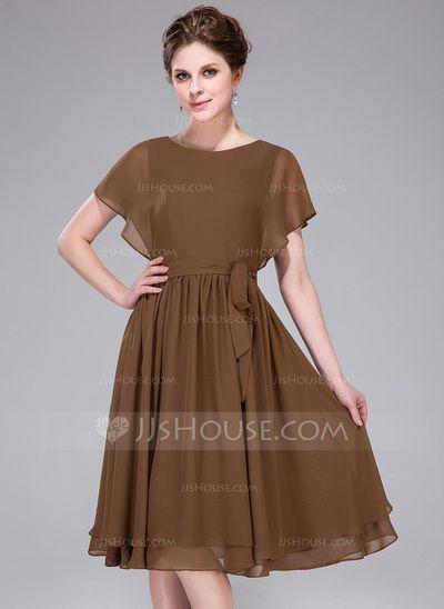 Bridesmaid Dresses - $108.99 - A-Line/Princess Scoop Neck Knee-Length Chiffon Bridesmaid Dress (008031861) http://jjshouse.com/A-Line-Princess-Scoop-Neck-Knee-Length-Chiffon-Bridesmaid-Dress-008031861-g31861