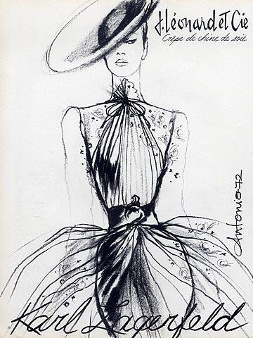 Karl Lagerfeld 1972 Antonio (Illustrator) Helanca & Leonard Textiles by Antonio (Illustrator)   Hprints.com