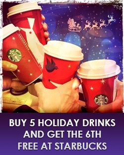 Buy 5 Drinks Get the 6th One Free at Starbucks    Get Them here: http://free4him.ca/restaurants-and-fast-food/buy-5-get-1-free-starbucks/