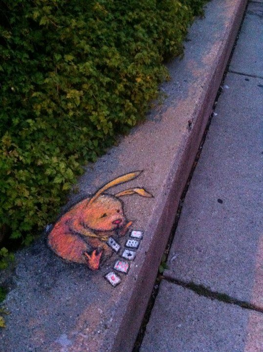 Chalk Street Art....By David Zinn.  I love this artist's charming street-art paintings. I can't get enough of them... Michael McClintock.