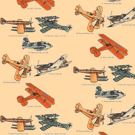Cute Fabric for a little boy's blanket: Vintage Airplanes fabric by mbsmith on Spoonflower - custom fabric