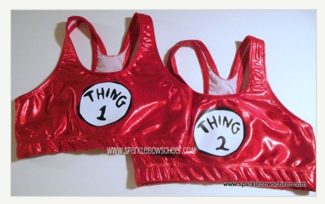 Thing 1 and Thing 2 Red Metallic Cheerleading Sports Bras -- super cute!! I wish I did cheer, I would wear one to every cheer practice. It would be fun if I bought these for me and my best friend and we got a cute picture! :))