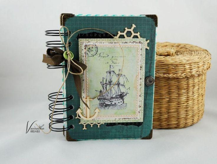 Notes morski – Notesy - ostatnia sztuka - kolor: kość słoniowa, akwamaryna, pistacjowy, wymiary: 10,7*15,2cm + sprężyna – Artillo
