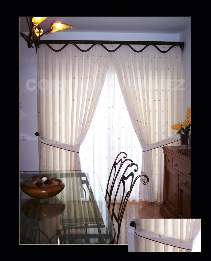 Cortina cl sica con abrazaderas y alzapa os de forja - Alzapanos para cortinas ...