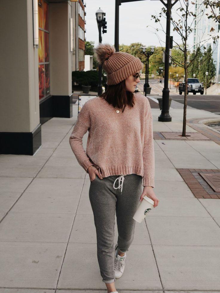Blush sweater + blush beanie + grey pants +white sneakers