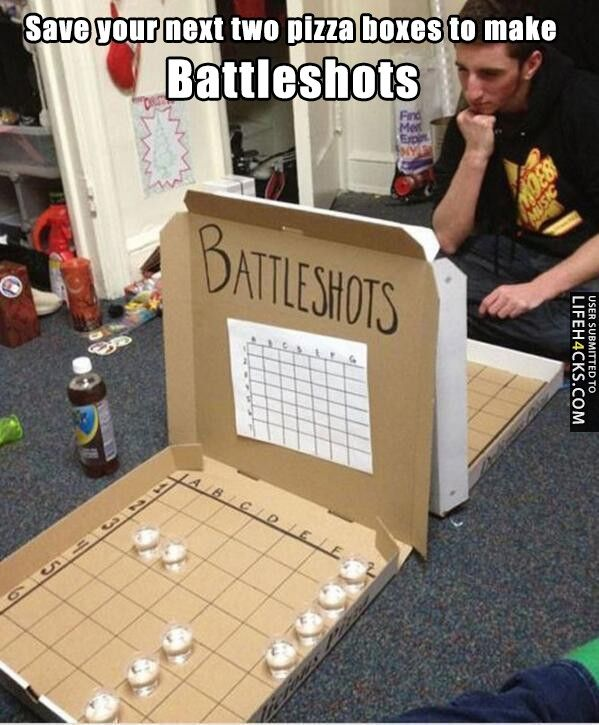 Save your next two pizza boxes to make Battleshots - #Battleshots, #Drunk, #Game