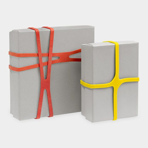Rubber X-Bands: Part of MOMA's 2004 exhibition Humble Masterpieces, these X-shaped rubber bands are great for organizing papers and cards or sealing small boxes. Each box contains an assortment of four sizes and colors. $5 #Rubber _Bands #X_Bands