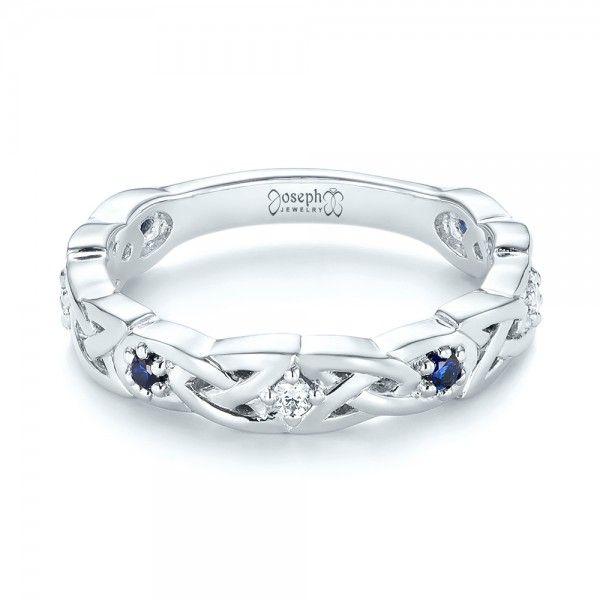 custom blue sapphire and diamond wedding band joseph jewelry bellevue seattle online