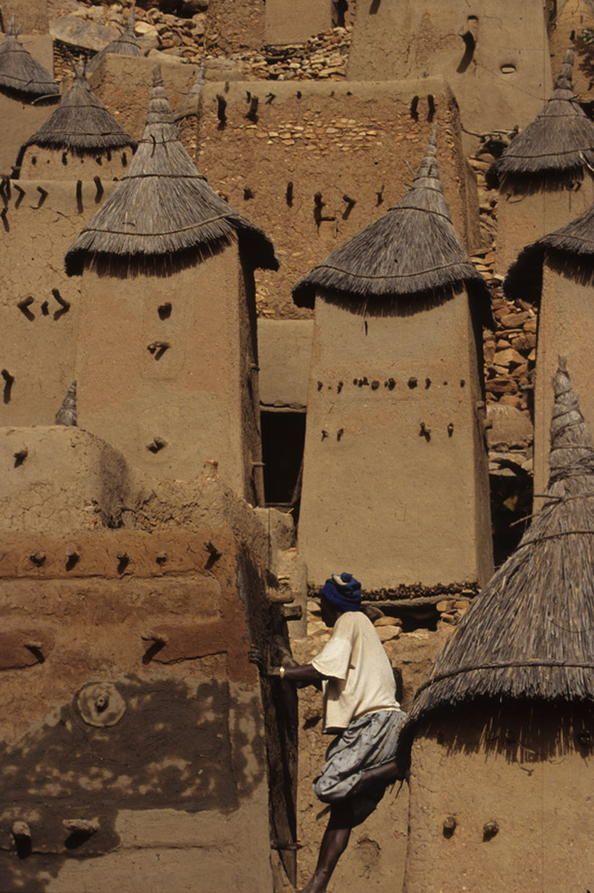 Falaises de Bandiagara (pays dogon). En plus de ses paysages exceptionnels de falaises et de plateau gréseux intégrant de très belles architectures (habitations, greniers, autels, sanctuaires et toguna – abris des hommes), le site de la région de Bandiagara possède des traditions sociales prestigieuses encore vivantes. Par ses caractéristiques géologiques, archéologiques et ethnologiques et ses paysages, le plateau de Bandiagara est l'un des sites les plus imposants d'Afrique de l'Ouest