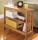 Perfect for the tiny bathroom--slim bookcase table. Nice baskets for towels and other things on the shelves.