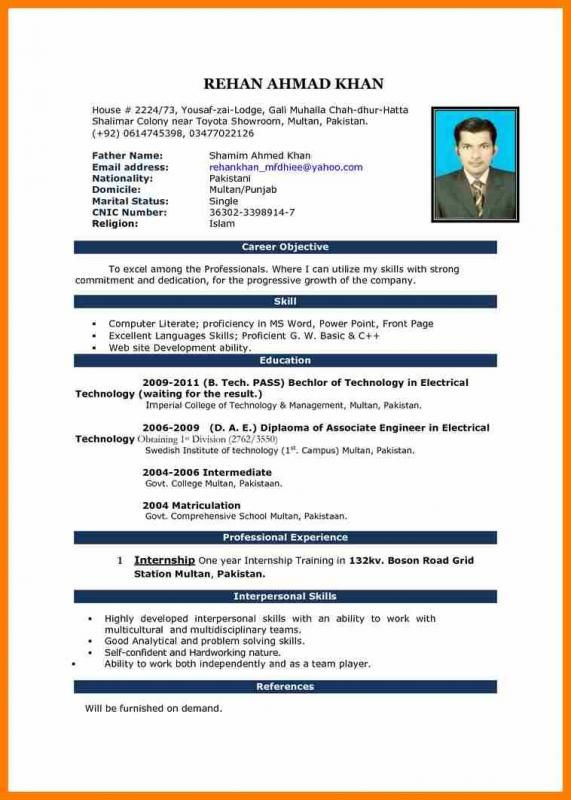 Simple Resume Format Pdf Resume Format Download Download Cv