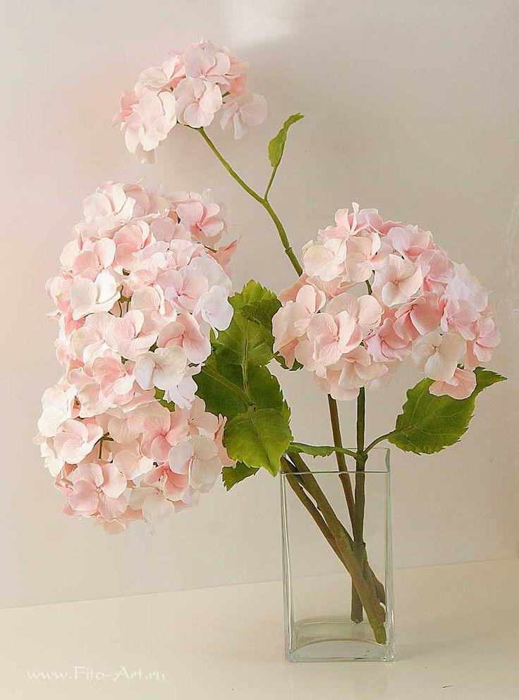 Розовая гортензия. Цветы из полимерной глины. Екатерина Звержанская.