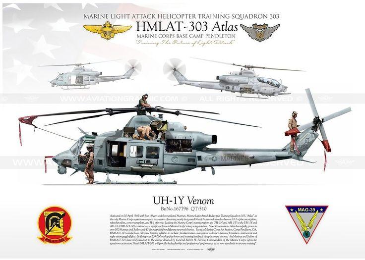 "UH-1Y ""Venom"" 510 HMLAT-303 USMC... UNITED STATES MARINE CORPS MARINE LIGHT ATTACK HELICOPTER TRAINING SQUADRON 303 HMLAT-303 ""Atlas"" / MAG-39 MARINE CORPS BASE CAMP PENDLETON, CA"