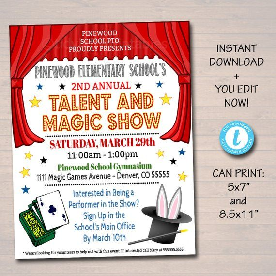 Editable Talent Show Flyer Printable Pta Pto Flyer School Church