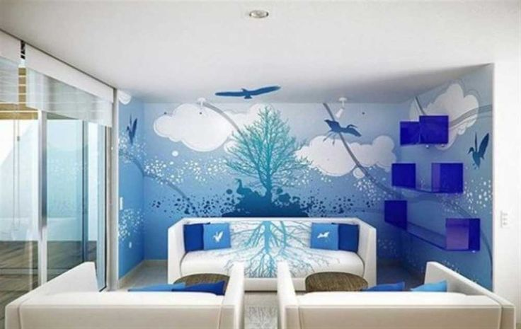 house painting pattern for living room with room blue