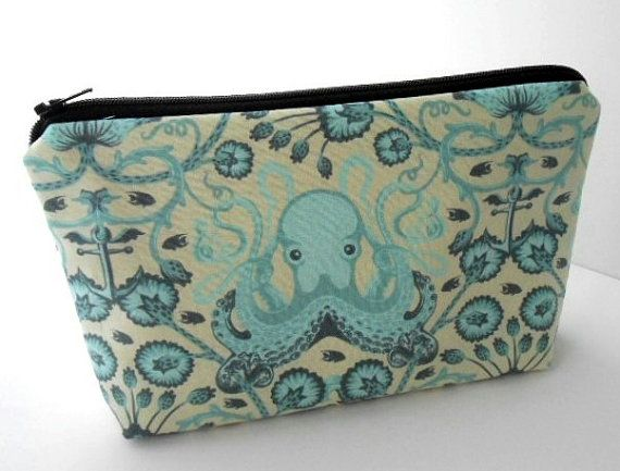 Aqua Large Cosmetic Bag Flat Bottom Padded ECO Friendly Zipper Pouch NEW Octo Garden by JPATPURSES, $18.00