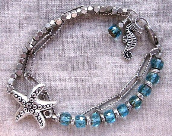 Sparkling Starfish & Seahorse Aqua and Silver Multi-Strand Coastal Charm Bracelet by SeaSideStrands