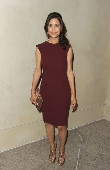 Julia Jones Cocktail Dress - Julia Jones looked lovely in a maroon cocktail dress with a simple sheath silhouette.