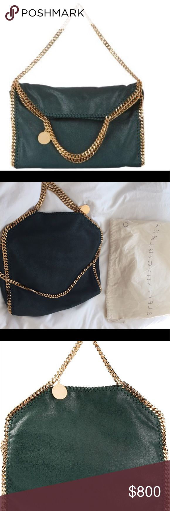 """Stella MacCartney Falabella bag Looks brand new. Foldover dark green tote with beautiful gold chains. Comes in original dust bag as pictured. This is classic bag and limited color with gold chain. Worn few times. No trade in. 4"""" strap drop; 11"""" shoulder strap drop. Stella McCartney Bags Totes"""