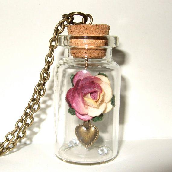 Glass Bottle Pendants 141 best mini glass bottle pendants images on pinterest bottle pink rose bottle necklace paper flower pendant spring fashion valentines jewelry 1400 audiocablefo