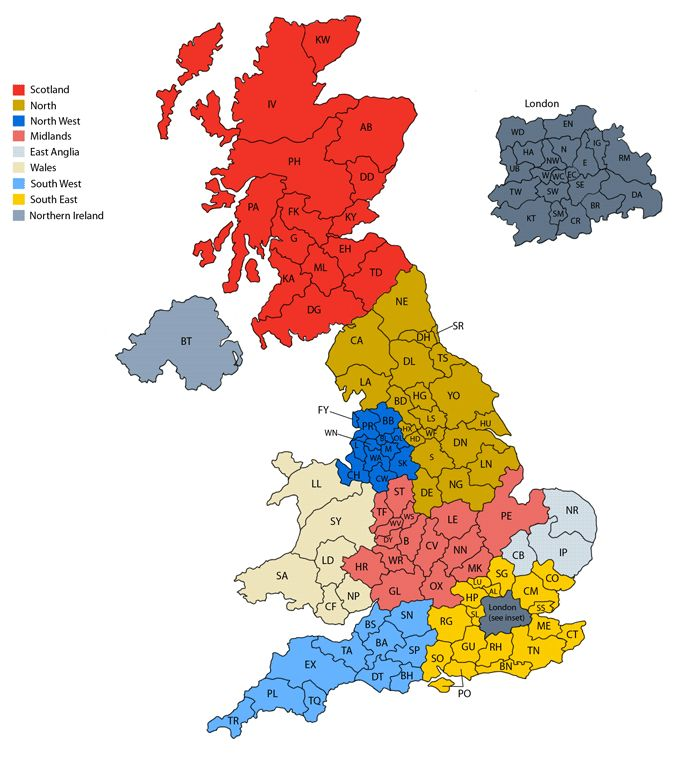 Map of United Kingdom postcodes