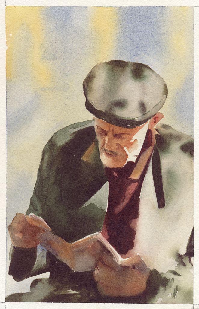 Acuarela, anciano leyendo
