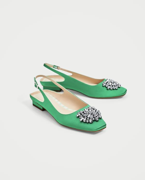 Image 3 of FLAT SLINGBACK SHOES WITH BEADED APPLIQUÉ from Zara