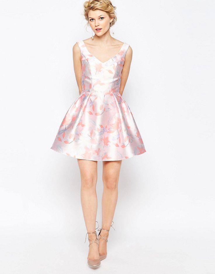 Image 4 ofChi-Chi London Petite Mini Prom Skater Dress In Soft Floral Print