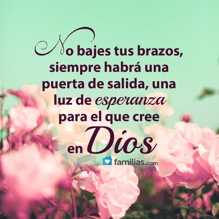 No te desanimes, cree en Dios