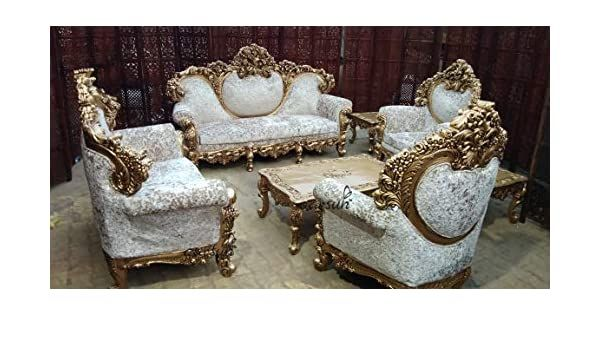 Aarsun Teak Wood Maharaja Sofa Set Antique Gold Finish Center And Side Tables Amazon In Home Kitchen In 2020 Sofa Set Wooden Sofa Set Wooden Living Room Furniture