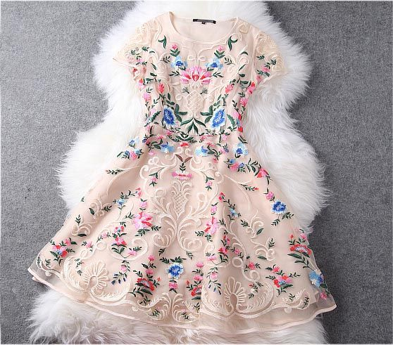 Gorgeous Embroidered Lace Dress in Baige · Whitelily Fashion · Online Store Powered by Storenvy