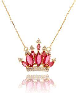 colar dourado de coroa rubi semi joia