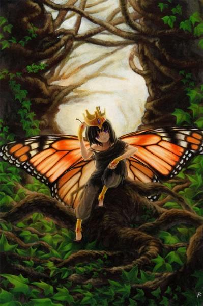 Monarch    オオカバマダラは帝王蝶とも呼ばれています。    制作環境      アクリル絵具